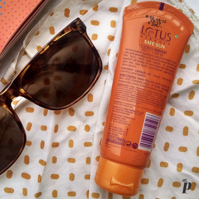 Top three sunscreens available in India: Lotus Herbal: Safe Sun | UV Screen Matte Gel