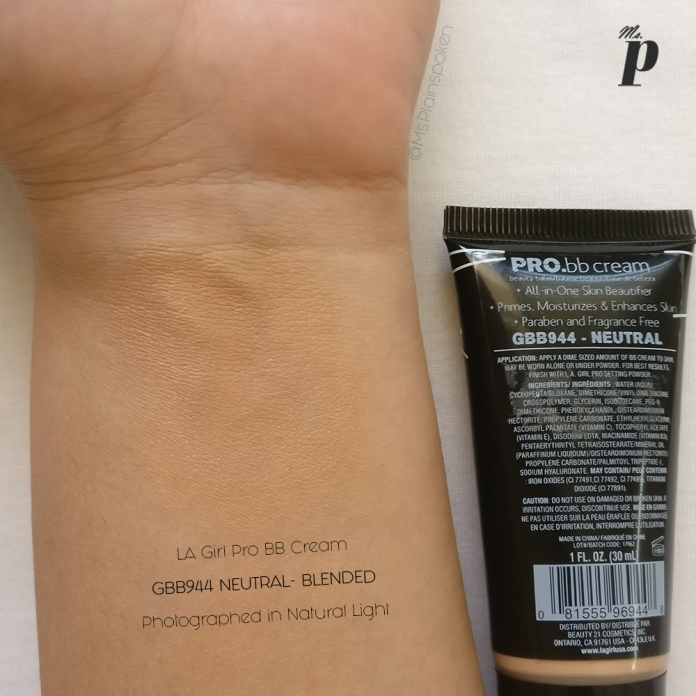 LA Girl BB Cream Neutral Swatch & Review4