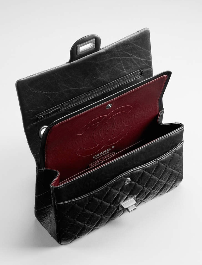 Chanel 2.55's Double Flap with Burgundy Interior and Lipstick Holder  | PC: Chanel