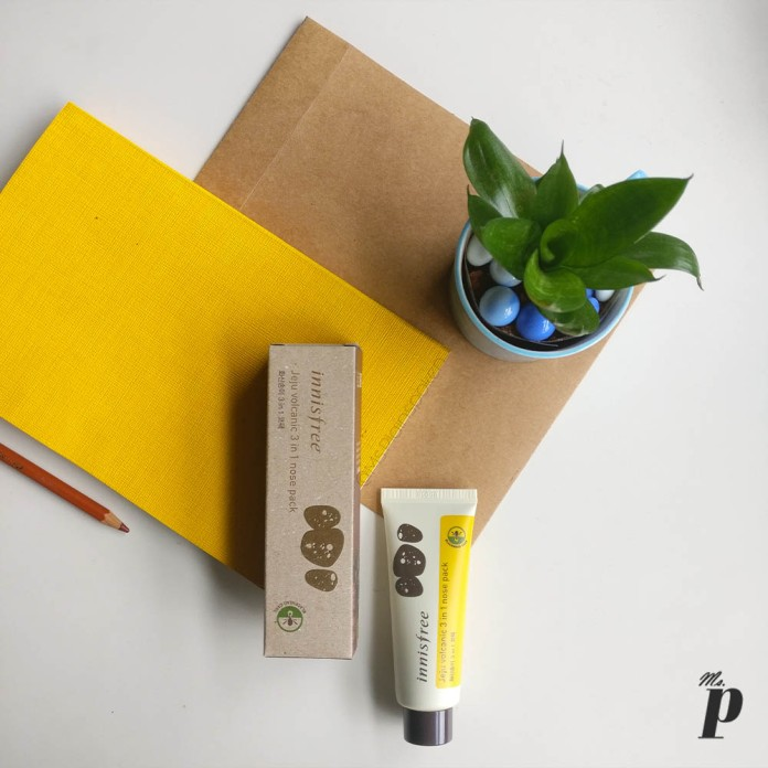 Innisfree Jeju Volcanic 3 in 1 nose pack Tube and outer carton box | Review_ Indian Skin