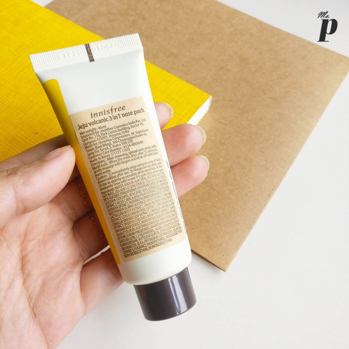 Innisfree: Jeju Volcanic 3 in 1 nose pack | Packaging & Tube Size (Back) | Review & Tested on Indian Skin