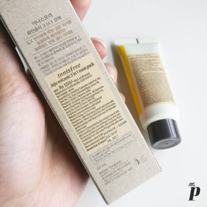 Innisfree Jeju Volcanic 3 in 1 nose pack _Cost and Directions of Use