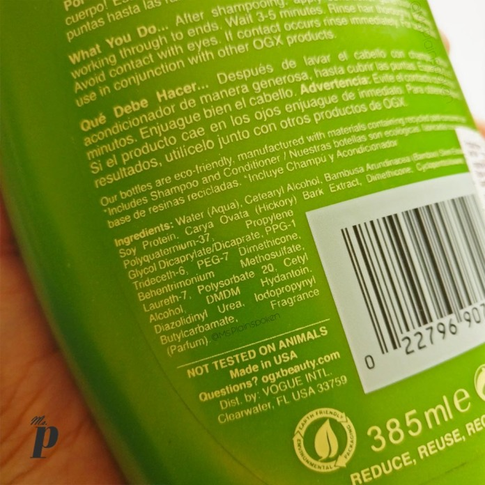Organix Ogx strength and body Bamboo Fiber full conditioner Review_ingredients india