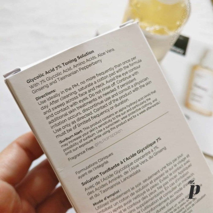 The Ordinary Glycolic acid 7 percent toning solution review india directions