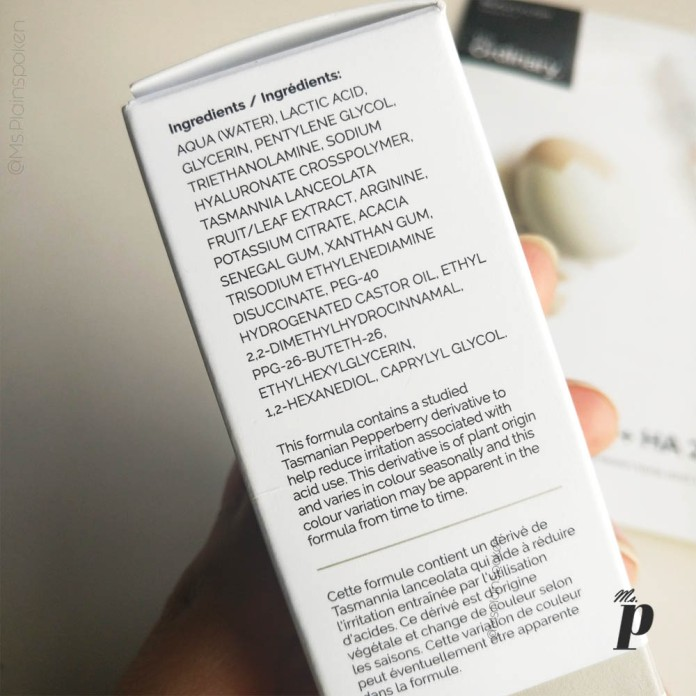 The Ordinary- Lactic Acid 5% + HA 2% | Ingredients printed on outer cardboard packaging