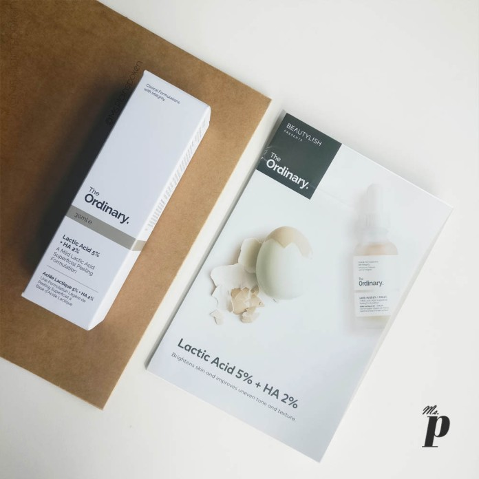 The Ordinary Lactic Acid 5% + HA 2% Review India Outer Packaging Information card from beautylish