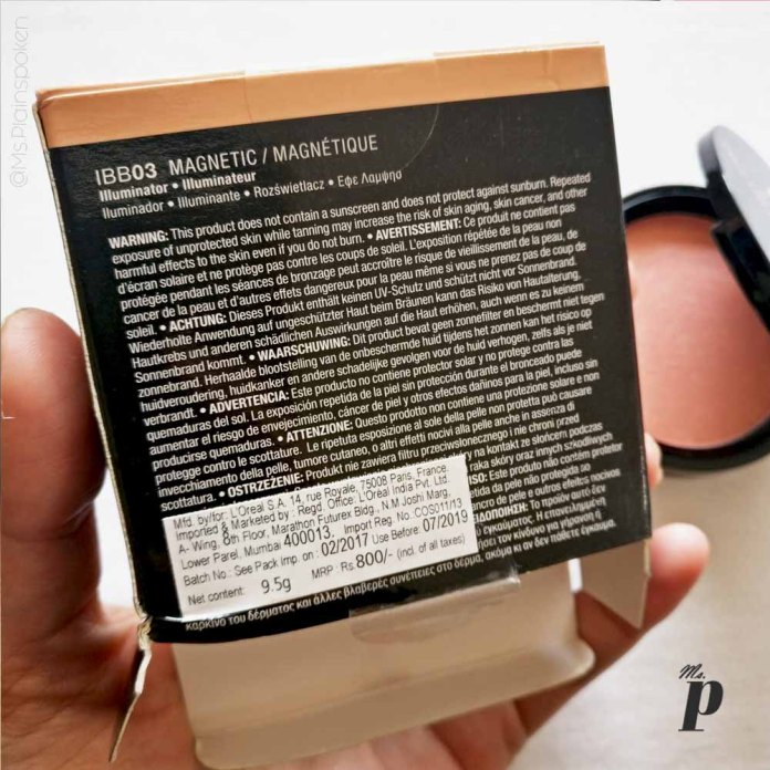 NYX Highlighter Illuminator Magnetic Review Swatches on dark skin_Cost and Expiry dates on outer package