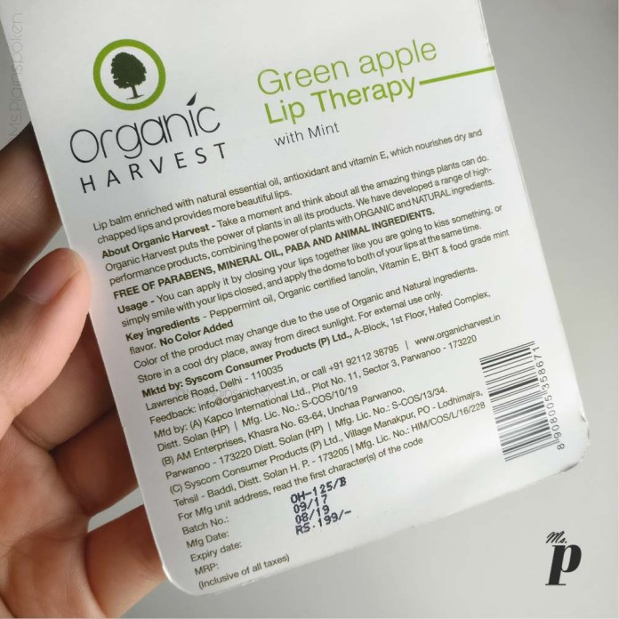 organic-harvest-happy-lips-lip-balm-green-apple-mint-review (ingredients & claims)