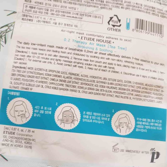 Etude House- 0.2 mm Tea Tree Therapy Air Sheet Mask | Ingredients 7 Directions