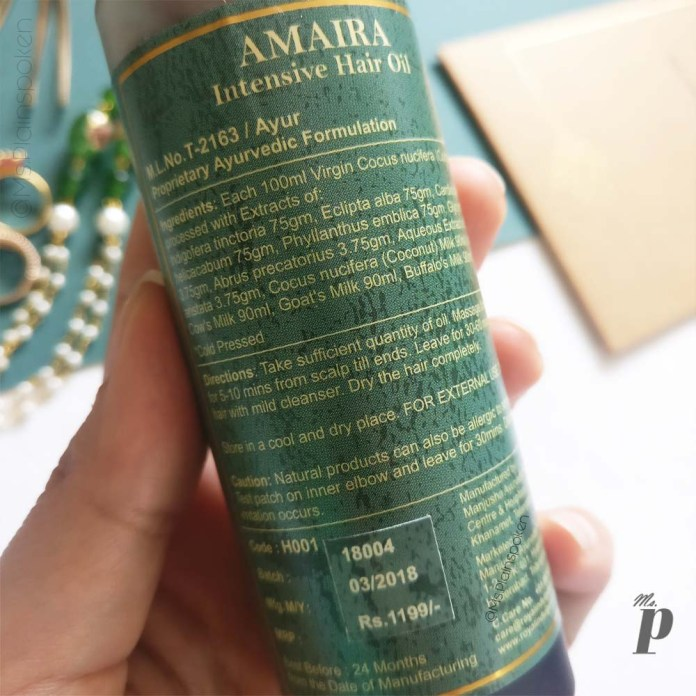 Royal Indulgence: Amaira Intensive Hair Oil | Ingredients & Directions of Use