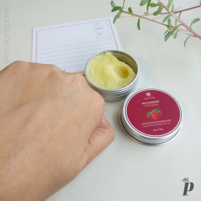 Satliva: Red Raspberry Face Cream | Absorption - 15 minutes after application.